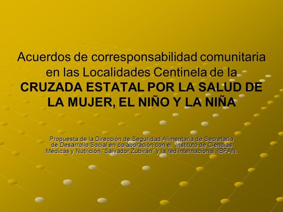 Acuerdos de corresponsabilidad comunitaria en las Localidades Centinela de la CRUZADA ESTATAL POR LA SALUD DE LA MUJER, EL NIÑO Y LA NIÑA