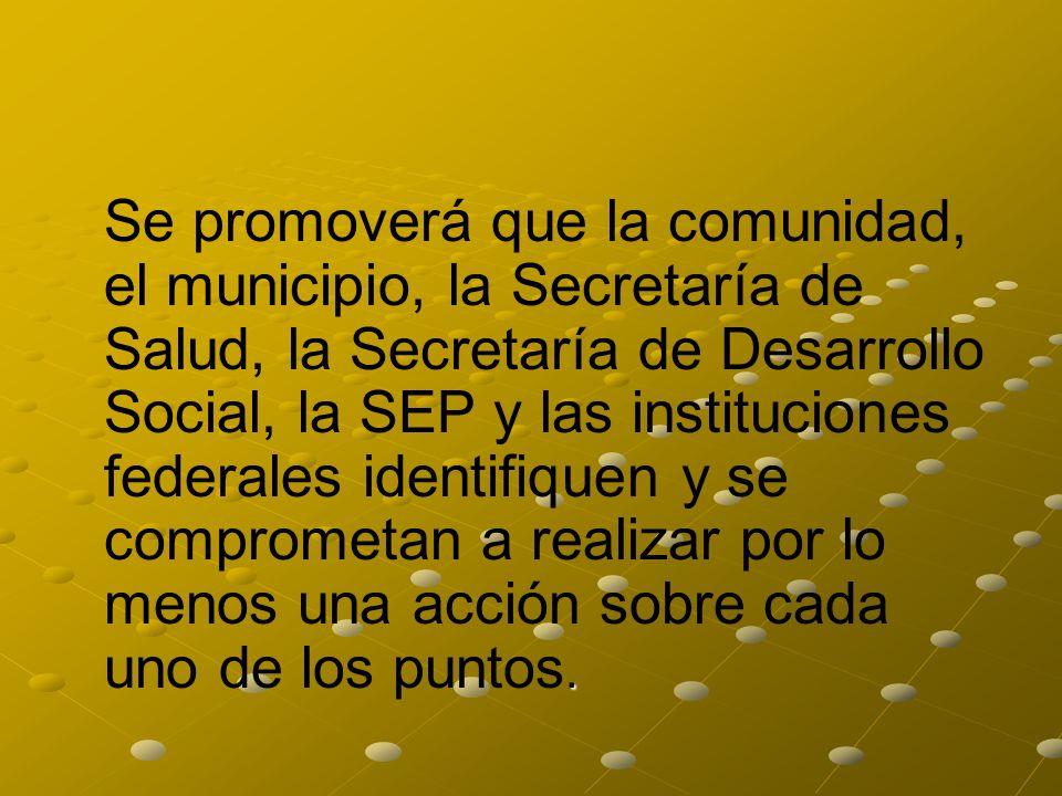 Se promoverá que la comunidad, el municipio, la Secretaría de Salud, la Secretaría de Desarrollo Social, la SEP y las instituciones federales identifiquen y se comprometan a realizar por lo menos una acción sobre cada uno de los puntos.