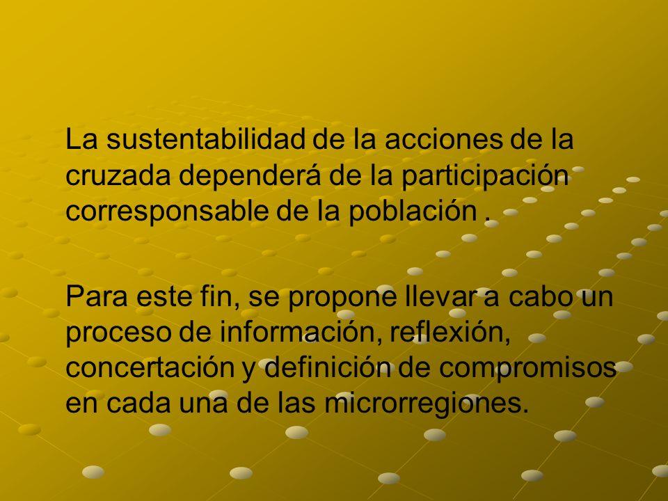 La sustentabilidad de la acciones de la cruzada dependerá de la participación corresponsable de la población .
