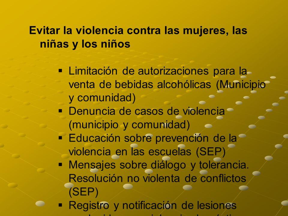 Evitar la violencia contra las mujeres, las niñas y los niños