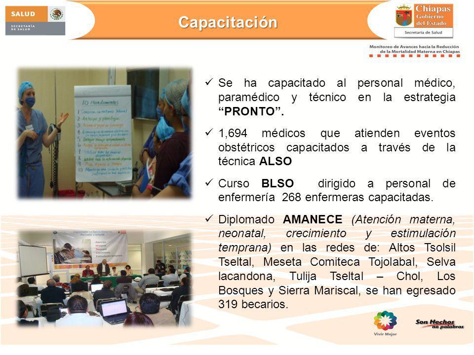 Capacitación Se ha capacitado al personal médico, paramédico y técnico en la estrategia PRONTO .
