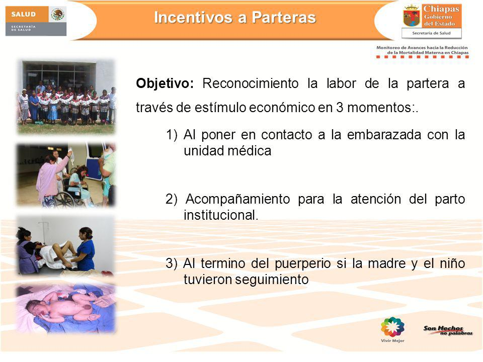 Incentivos a Parteras Objetivo: Reconocimiento la labor de la partera a través de estímulo económico en 3 momentos:.