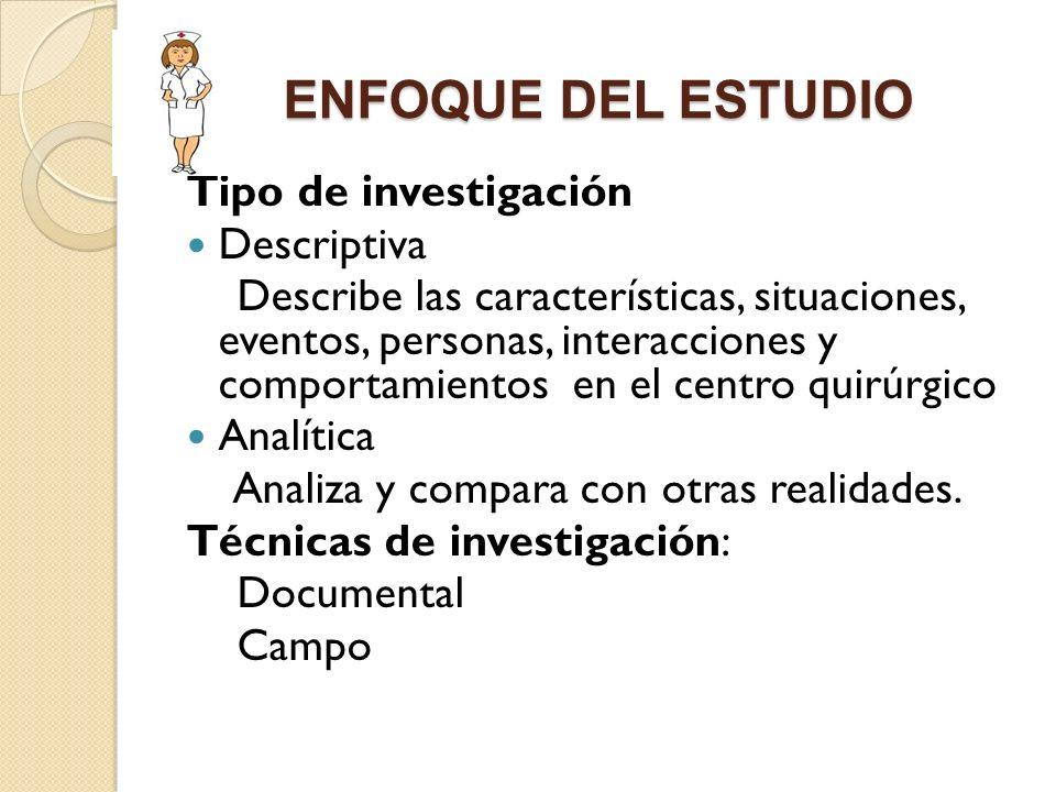 ENFOQUE DEL ESTUDIO Tipo de investigación Descriptiva