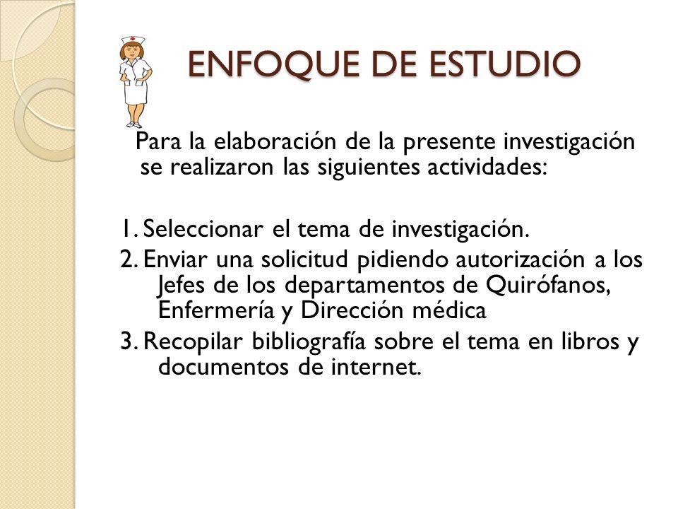 ENFOQUE DE ESTUDIO 1. Seleccionar el tema de investigación.