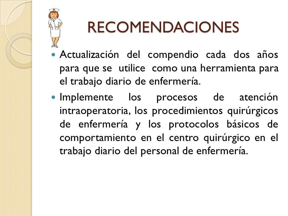 RECOMENDACIONES Actualización del compendio cada dos años para que se utilice como una herramienta para el trabajo diario de enfermería.