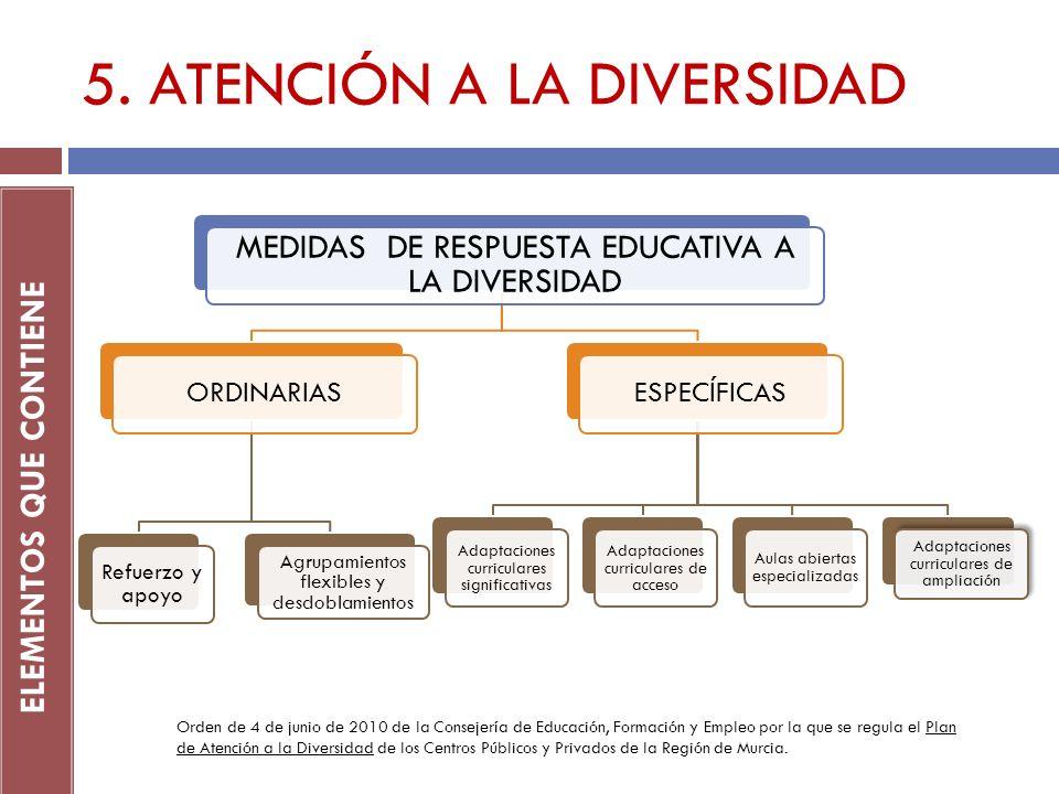 5. ATENCIÓN A LA DIVERSIDAD