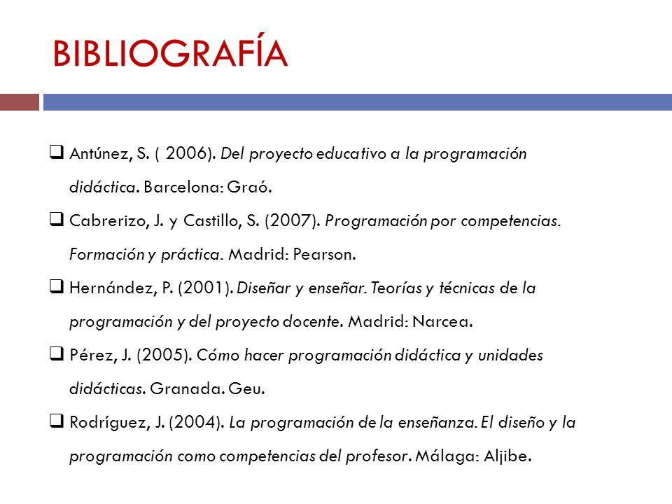 BIBLIOGRAFÍA Antúnez, S. ( 2006). Del proyecto educativo a la programación didáctica. Barcelona: Graó.