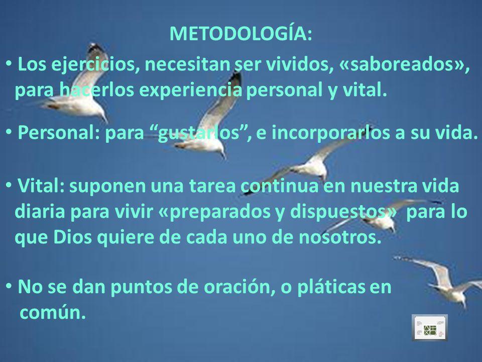 METODOLOGÍA: Los ejercicios, necesitan ser vividos, «saboreados», para hacerlos experiencia personal y vital.