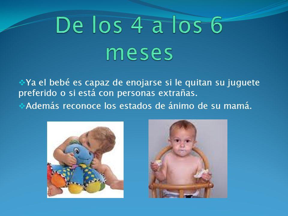 De los 4 a los 6 meses Ya el bebé es capaz de enojarse si le quitan su juguete preferido o si está con personas extrañas.