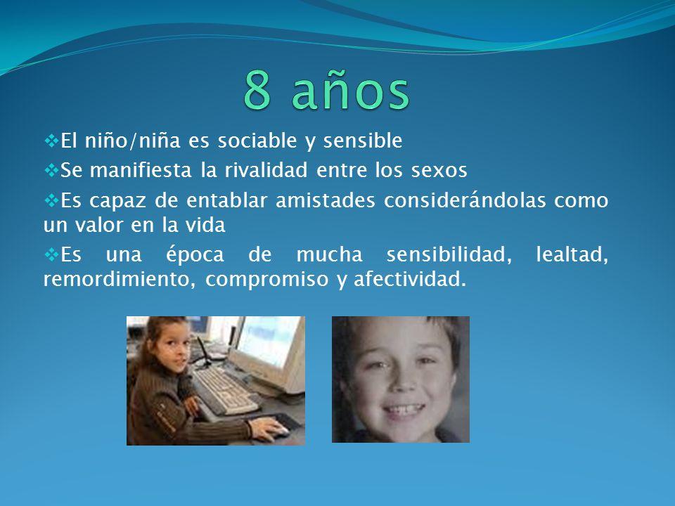 8 años El niño/niña es sociable y sensible