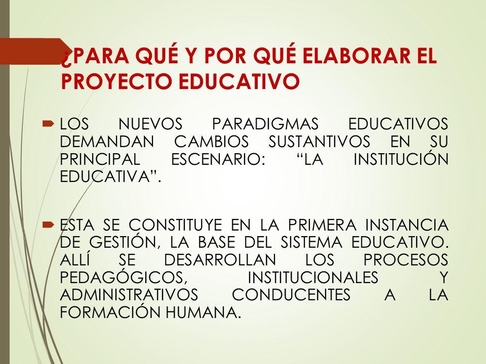 ¿PARA QUÉ Y POR QUÉ ELABORAR EL PROYECTO EDUCATIVO