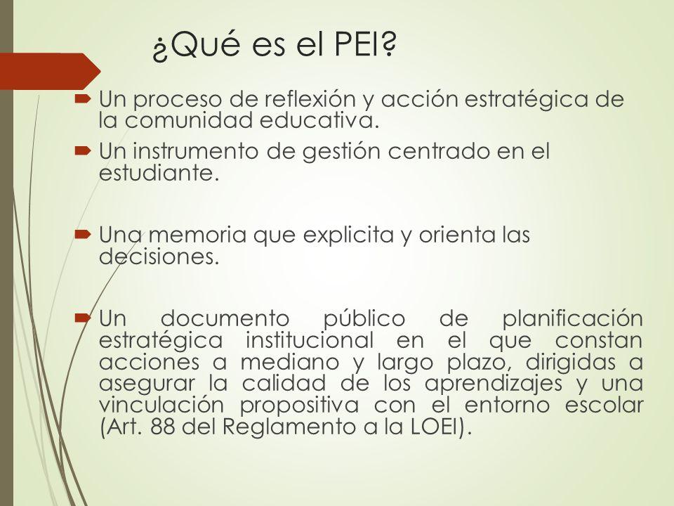 ¿Qué es el PEI Un proceso de reflexión y acción estratégica de la comunidad educativa. Un instrumento de gestión centrado en el estudiante.