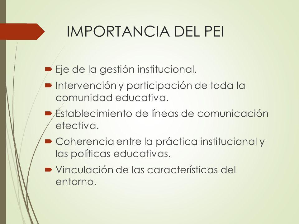 IMPORTANCIA DEL PEI Eje de la gestión institucional.