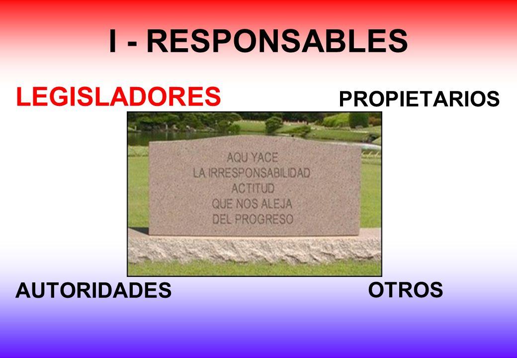 I - RESPONSABLES LEGISLADORES AUTORIDADES PROPIETARIOS OTROS