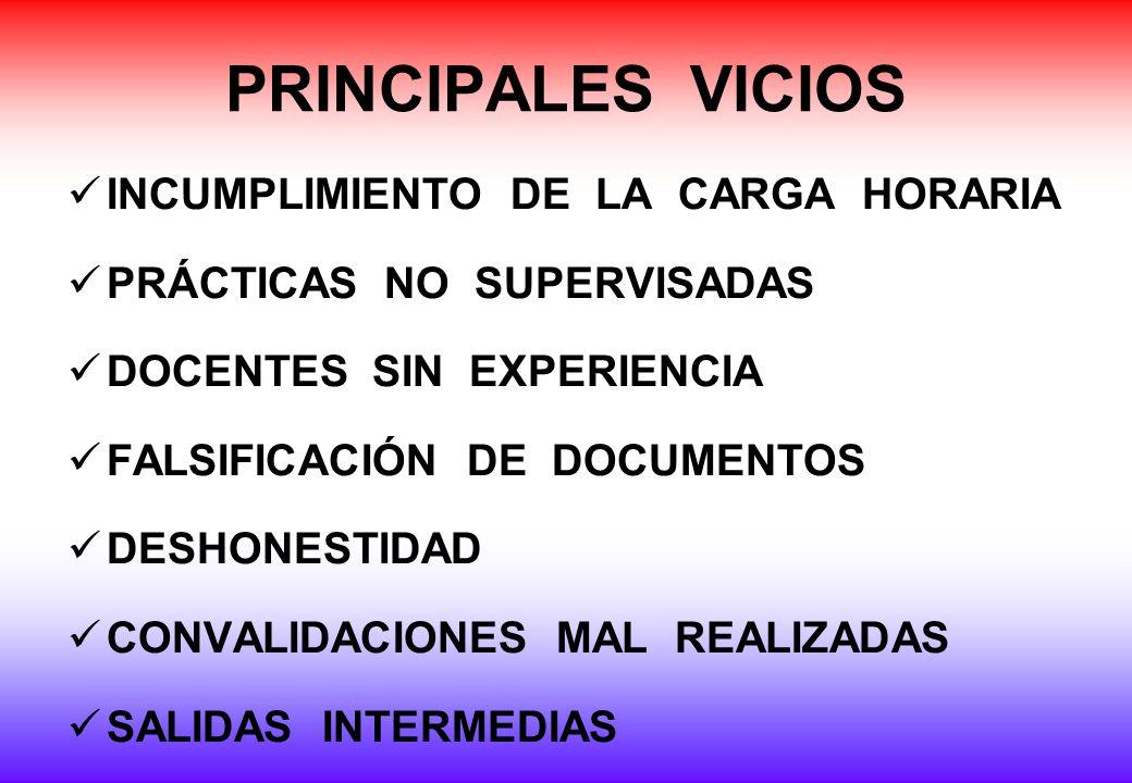 PRINCIPALES VICIOS INCUMPLIMIENTO DE LA CARGA HORARIA