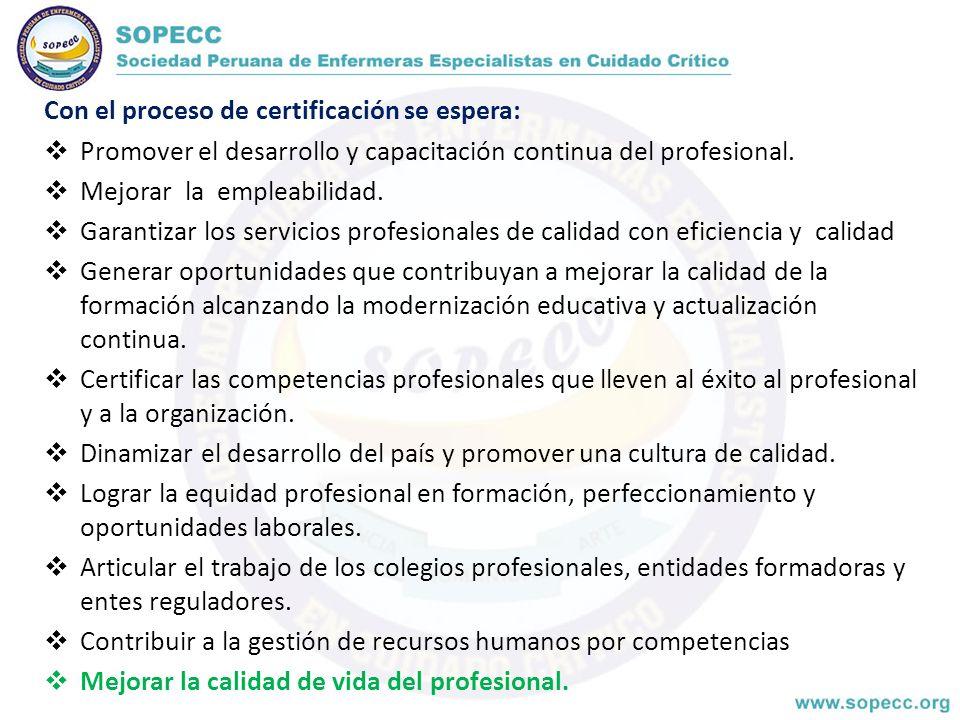 Con el proceso de certificación se espera: