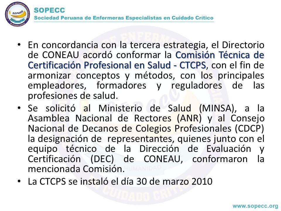 En concordancia con la tercera estrategia, el Directorio de CONEAU acordó conformar la Comisión Técnica de Certificación Profesional en Salud - CTCPS, con el fin de armonizar conceptos y métodos, con los principales empleadores, formadores y reguladores de las profesiones de salud.