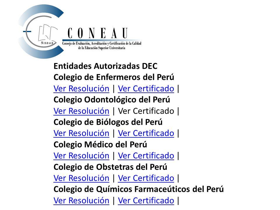 Entidades Autorizadas DEC