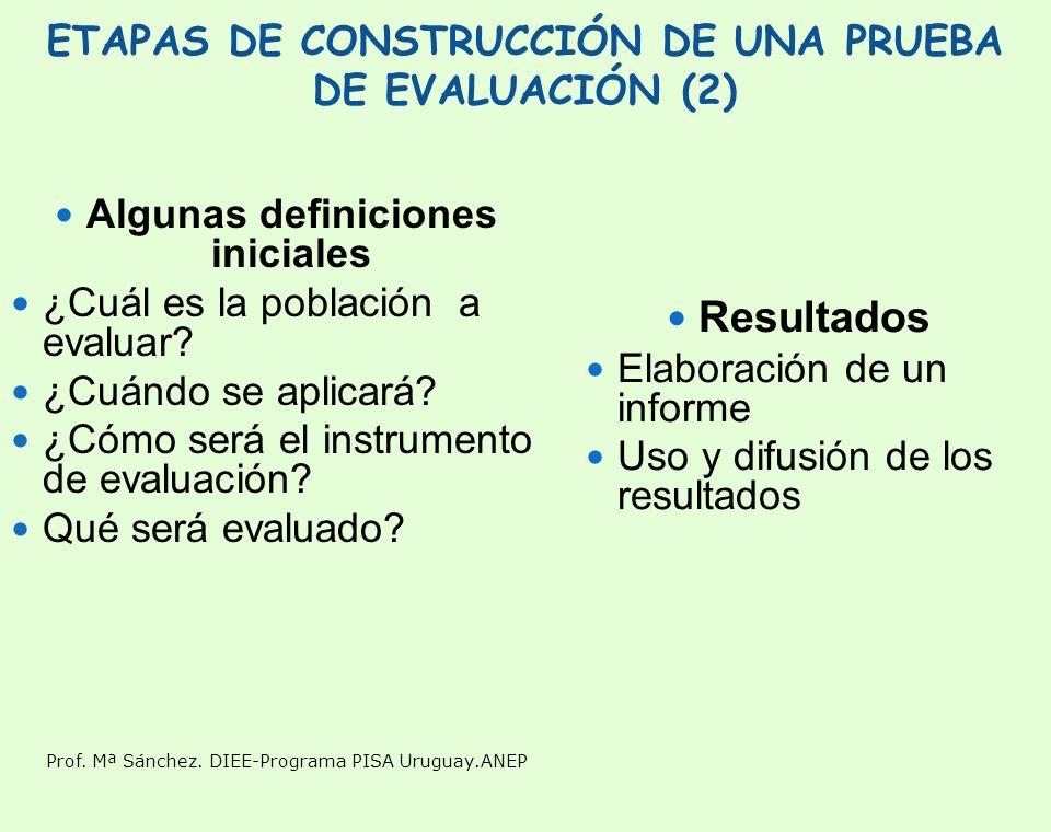 ETAPAS DE CONSTRUCCIÓN DE UNA PRUEBA DE EVALUACIÓN (2)
