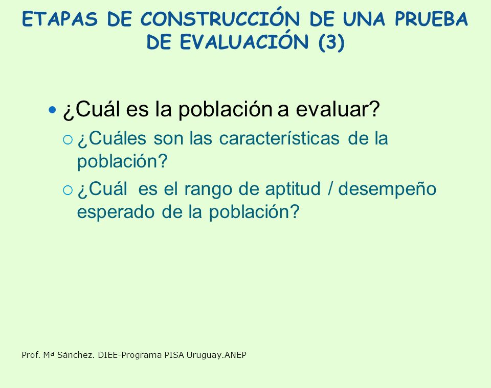 ETAPAS DE CONSTRUCCIÓN DE UNA PRUEBA DE EVALUACIÓN (3)