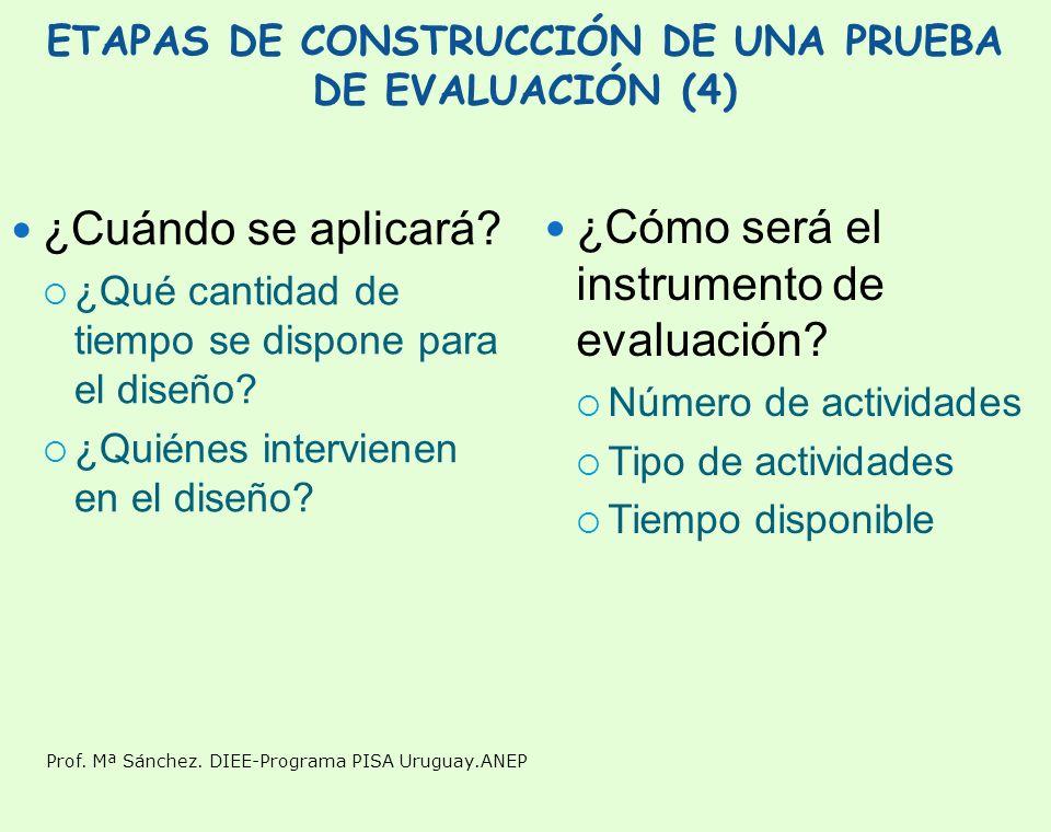 ETAPAS DE CONSTRUCCIÓN DE UNA PRUEBA DE EVALUACIÓN (4)