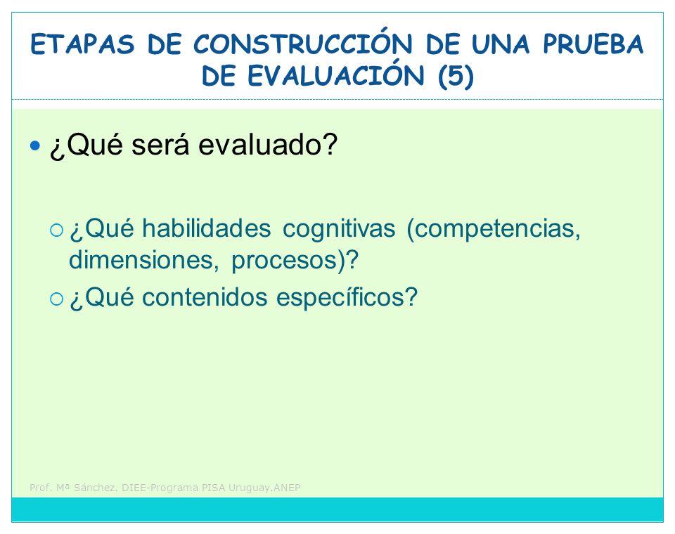 ETAPAS DE CONSTRUCCIÓN DE UNA PRUEBA DE EVALUACIÓN (5)