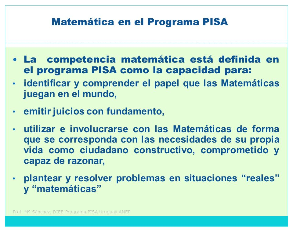 Matemática en el Programa PISA