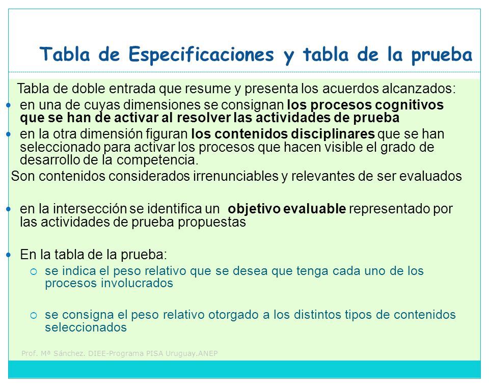 Tabla de Especificaciones y tabla de la prueba