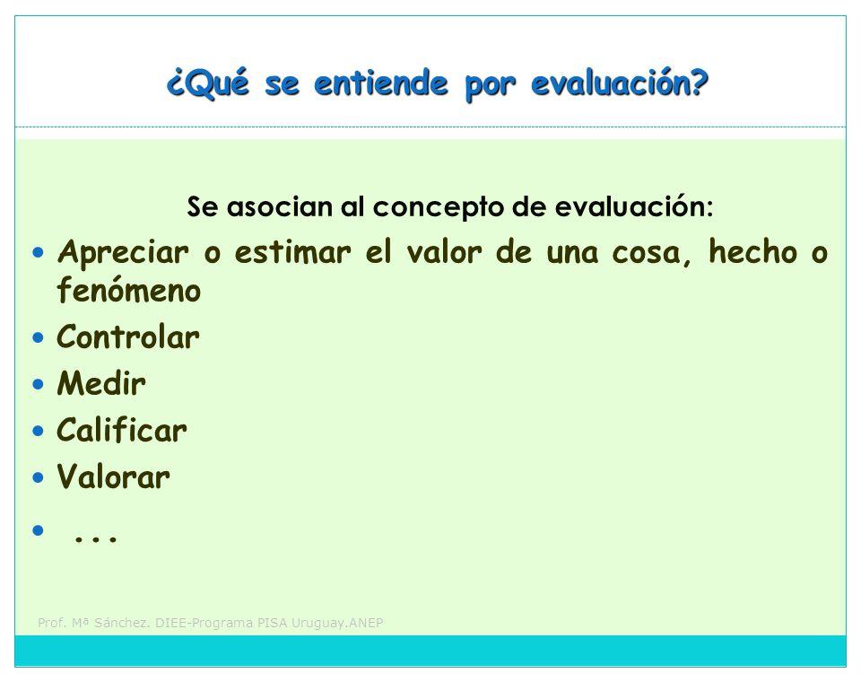Se asocian al concepto de evaluación: