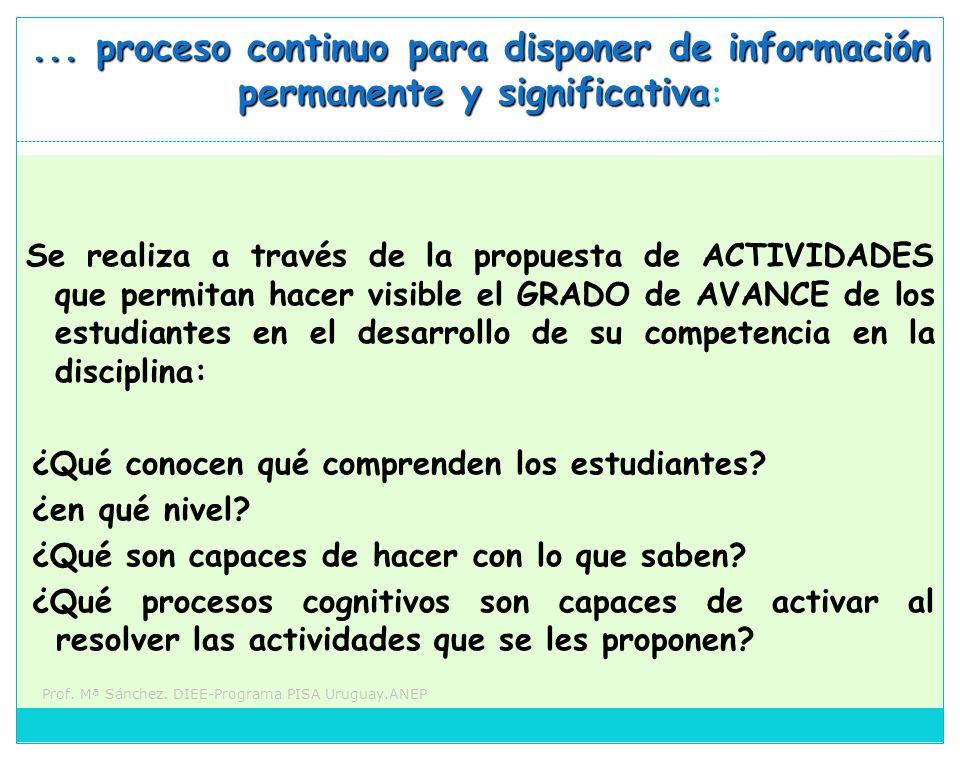 ... proceso continuo para disponer de información permanente y significativa: