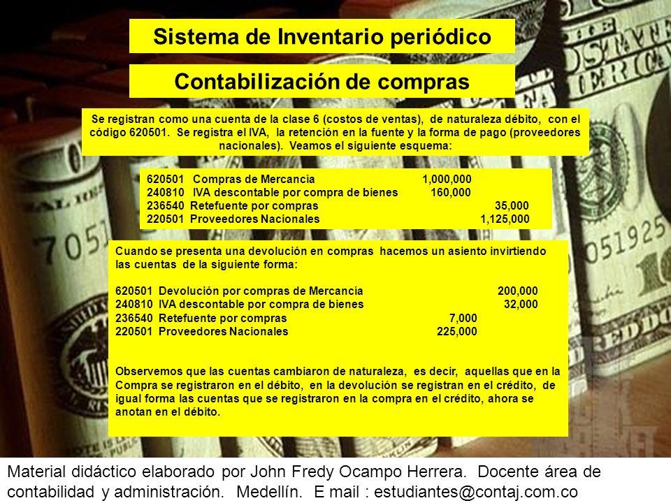 Sistema de Inventario periódico Contabilización de compras
