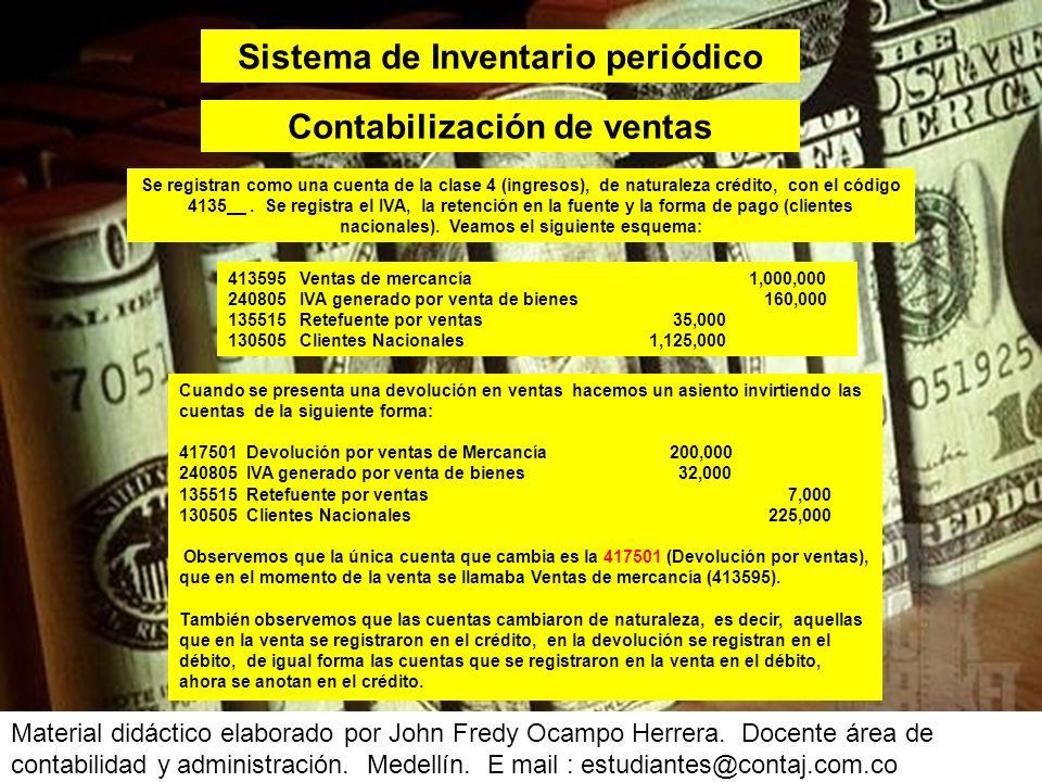 Sistema de Inventario periódico Contabilización de ventas
