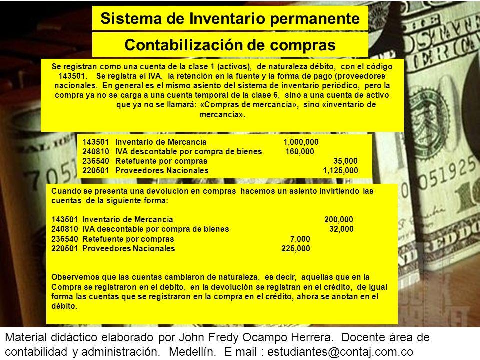 Sistema de Inventario permanente Contabilización de compras