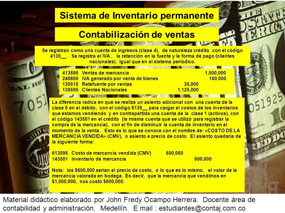 Sistema de Inventario permanente Contabilización de ventas