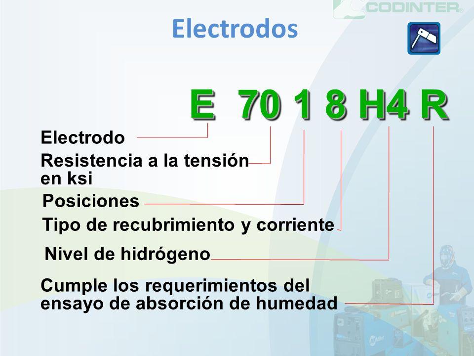 E 70 1 8 H4 R Electrodos Electrodo Resistencia a la tensión en ksi