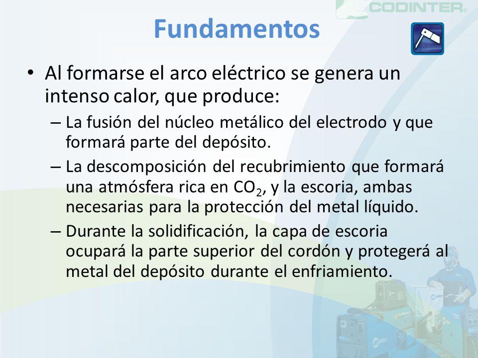 Fundamentos Al formarse el arco eléctrico se genera un intenso calor, que produce: