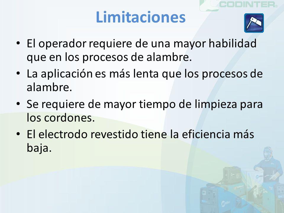 Limitaciones El operador requiere de una mayor habilidad que en los procesos de alambre. La aplicación es más lenta que los procesos de alambre.