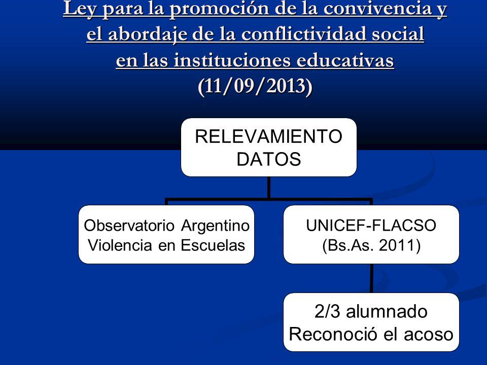 Ley para la promoción de la convivencia y el abordaje de la conflictividad social en las instituciones educativas (11/09/2013)