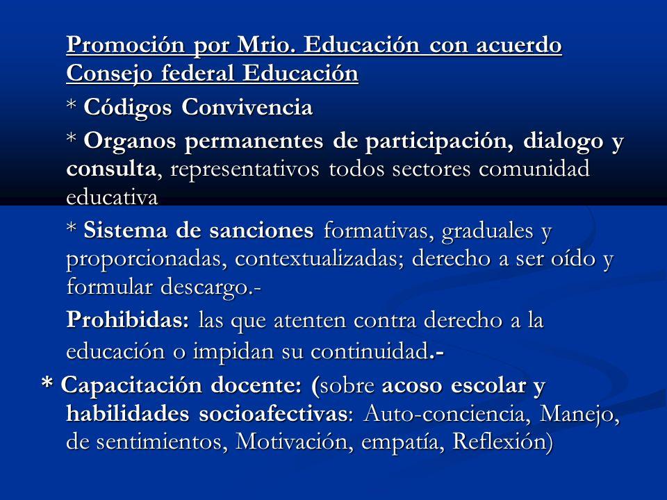 Promoción por Mrio. Educación con acuerdo Consejo federal Educación