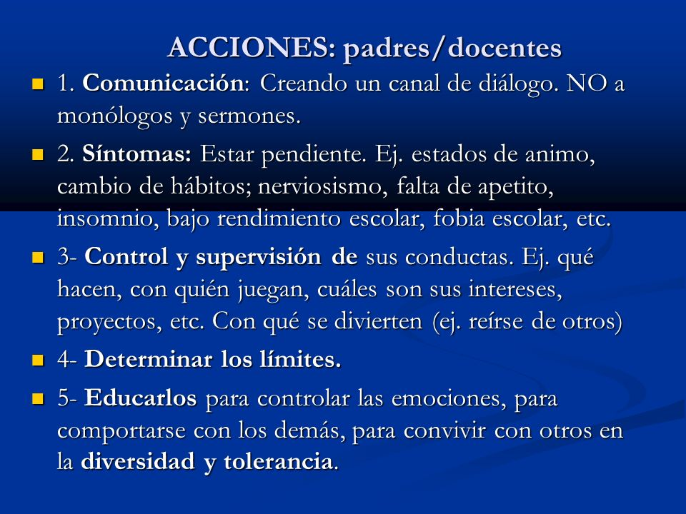ACCIONES: padres/docentes