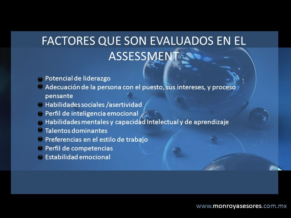 FACTORES QUE SON EVALUADOS EN EL ASSESSMENT