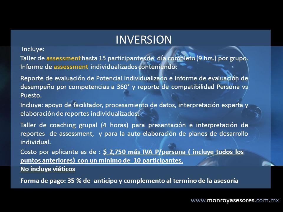 INVERSION Incluye: Taller de assessment hasta 15 participantes de día completo (9 hrs.) por grupo.