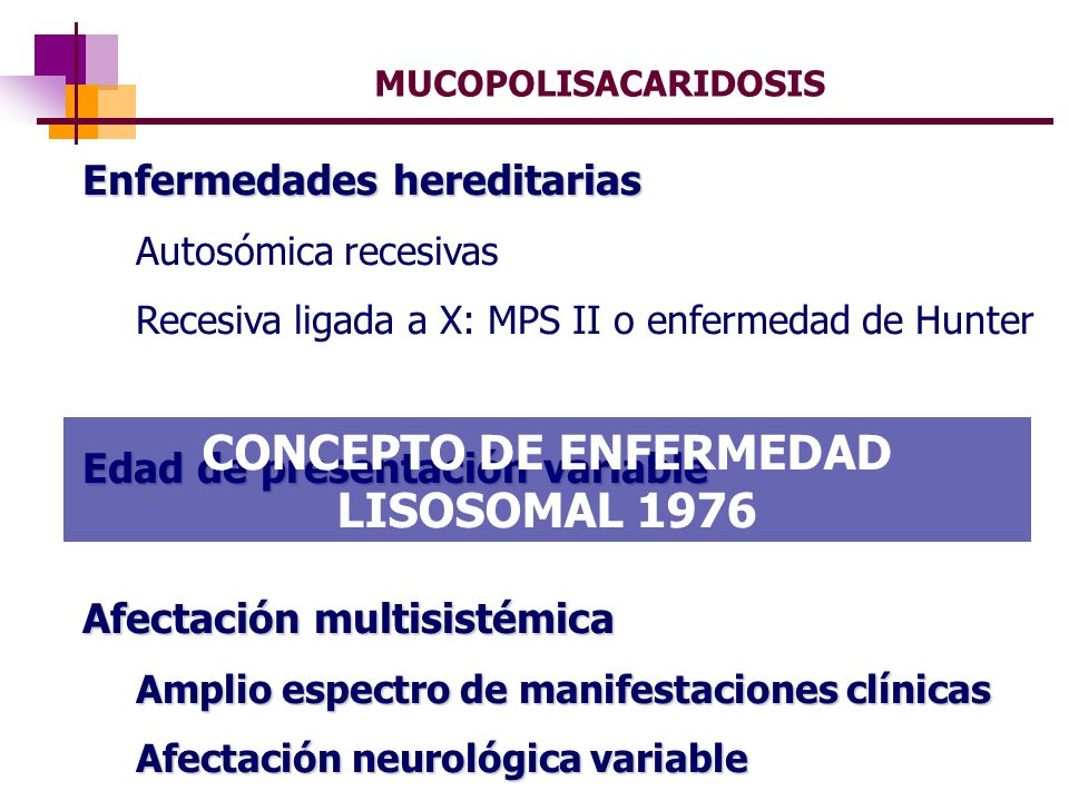 CONCEPTO DE ENFERMEDAD LISOSOMAL 1976