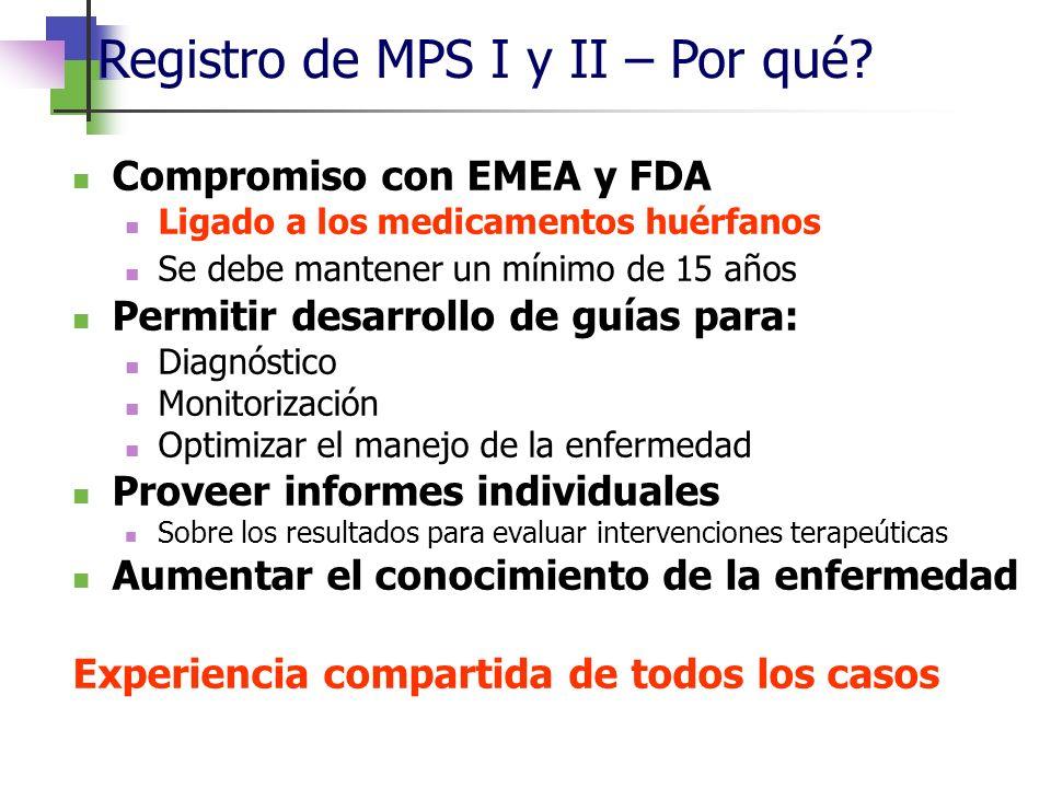 Registro de MPS I y II – Por qué