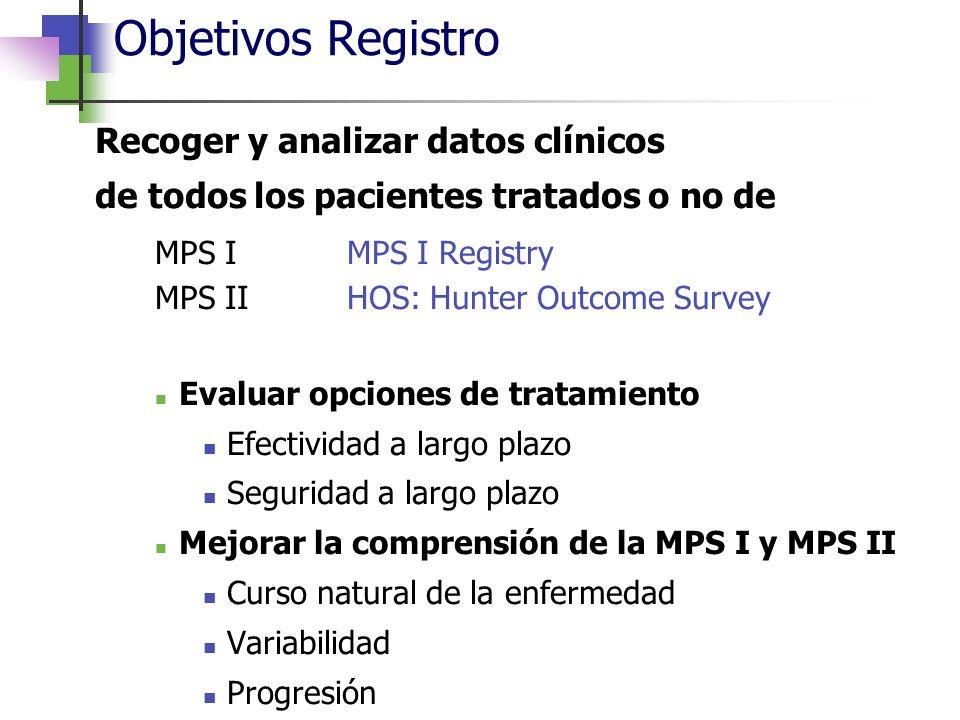 Objetivos Registro MPS I MPS I Registry