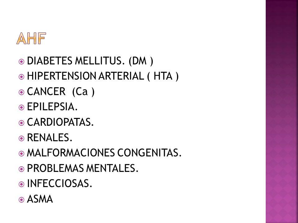 AHF DIABETES MELLITUS. (DM ) HIPERTENSION ARTERIAL ( HTA )