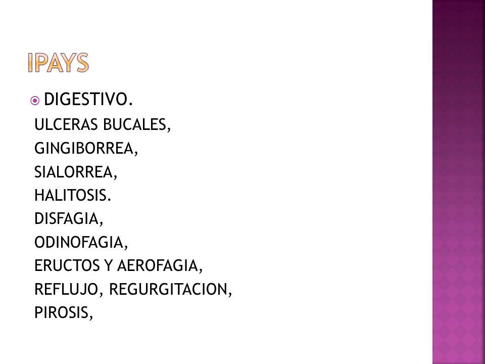 IPAYS DIGESTIVO. ULCERAS BUCALES, GINGIBORREA, SIALORREA, HALITOSIS.