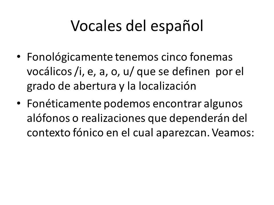 Vocales del español Fonológicamente tenemos cinco fonemas vocálicos /i, e, a, o, u/ que se definen por el grado de abertura y la localización.