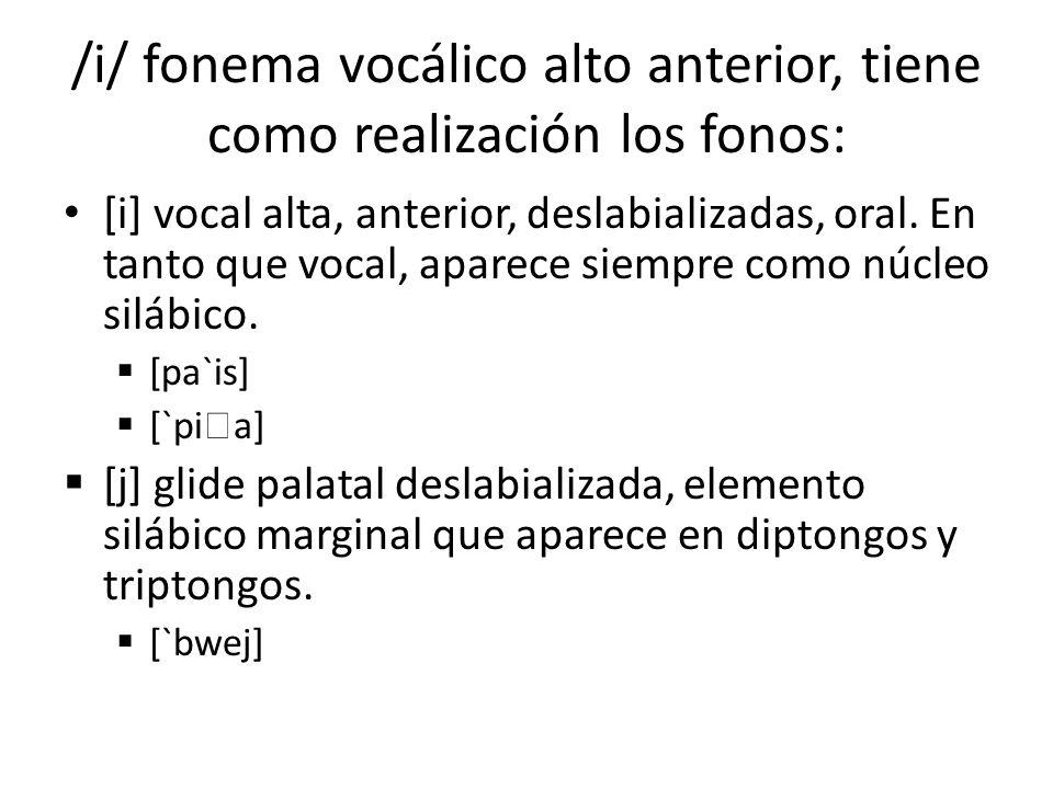 /i/ fonema vocálico alto anterior, tiene como realización los fonos: