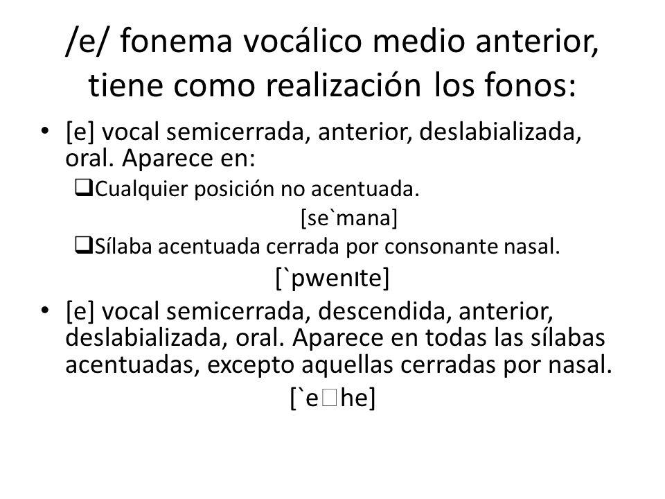 /e/ fonema vocálico medio anterior, tiene como realización los fonos: